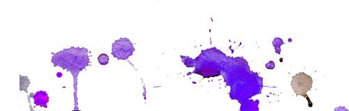 Purple blue watercolor splashes and blots on white background. Ink painting. Hand drawn illustration. Abstract watercolor artwork. stock illustration
