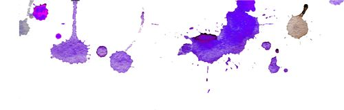 Purple blue watercolor splashes and blots on white background. Ink painting. Hand drawn illustration. Abstract watercolor artwork. Purple blue watercolor royalty free illustration