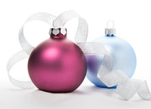 Purple and blue xmas balls Royalty Free Stock Photography