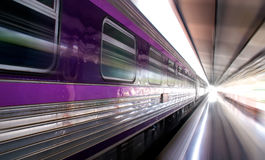Purple bogies of Train (motion speed style) Royalty Free Stock Image