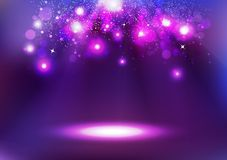 Purple Bokeh, glowing celebration, abstract background vector il. Purple Bokeh, stars falling, glowing on the floor celebration, abstract background vector royalty free illustration