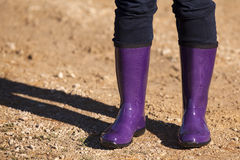 Purple Boots. On a young woman Royalty Free Stock Photo