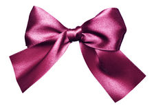 Purple bow made from silk Royalty Free Stock Photography