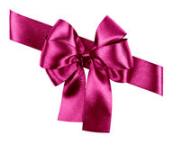 Purple bow made from silk Stock Photos