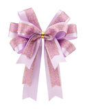 Purple bow ribbon isolated on white background Stock Photos