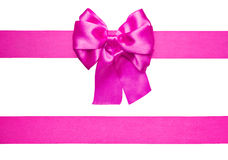 Purple bow and ribbon made from silk Royalty Free Stock Images