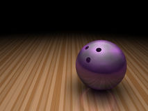 Purple bowling ball in bowling lane Royalty Free Stock Photography