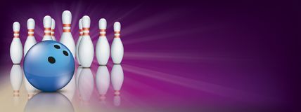 Purple Bowling Pin Deck Banner Blue Ball Pins Royalty Free Stock Images