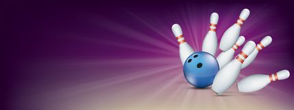 Purple Bowling Pin Deck Banner Blue Ball Strike Pins Royalty Free Stock Photos