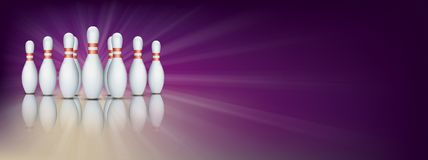 Purple Bowling Pin Deck Banner Pins Royalty Free Stock Image