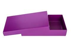 Purple box. Open empty purple box, isolated on white background Stock Photos