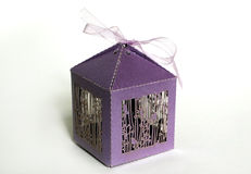 Purple box, gift. Purple packing box for souvenirs Stock Photography