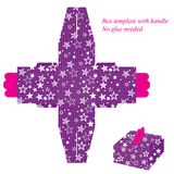 Purple box template with star pattern Stock Photography