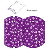Purple box template with white stars Royalty Free Stock Photos