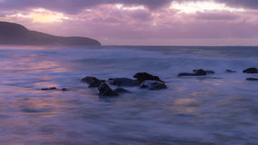 Purple Break of Dawn Seascape. Long Exposure at Killcare Beach, Central Coast, NSW, Australia Stock Photo