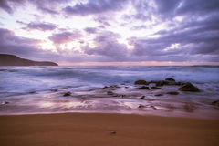 Purple Break of Dawn Seascape. Long Exposure at Killcare Beach, Central Coast, NSW, Australia Royalty Free Stock Photography