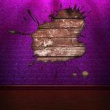 Purple brick wall in shadows Stock Photos