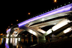 Purple bridge at night Royalty Free Stock Images