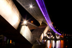 Purple bridge at night Royalty Free Stock Photos