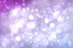 Purple bright abstract bokeh. Purple and pink gradient glowing background with bright blurred circles and glittering stars. royalty free stock photography