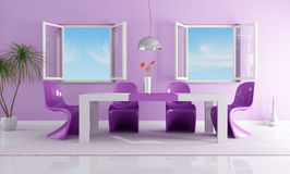 Purple bright dining room. Purple dining room with two open windows Stock Photo