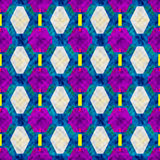 Purple and bright polygons on a blue background seamless pattern vector illustration Stock Image