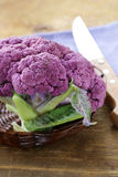 Purple broccoli on a wooden table Royalty Free Stock Photos