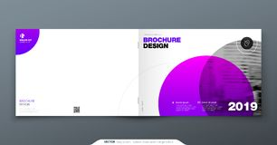 Purple Brochure design. Horizontal cover template for brochure, report, catalog, magazine. Layout with gradient circle. Shapes and abstract photo background stock illustration