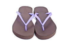 Purple and Brow Flip Flop Isolated on White. Pair of purple and brown flip flop isolated on white background stock photo