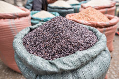 Purple brown rice market Royalty Free Stock Images