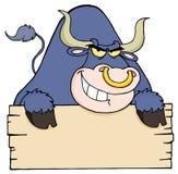Purple bull and blank sign Stock Photos