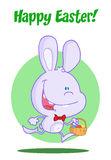 Purple bunny running with easter eggs in a basket. Cartoon Purple bunny running with easter eggs in a basket vector illustration