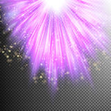 Purple burst effect. EPS 10. Cosmic glittering wave on purple striped background. EPS 10 vector file included Royalty Free Stock Photography