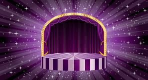 Purple burst wide stage. Vector blue circle circus stage with bulb lamps and star burst in background, entertainment and show business template royalty free illustration