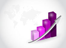 Purple business graph illustration design. Over white Stock Images