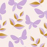 Purple butterflies and golden leaves in a seamless pattern design