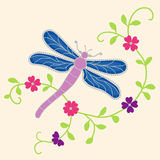Purple Butterfly. Illustration of a beautiful purple butterfly with decorative flowers Royalty Free Stock Images