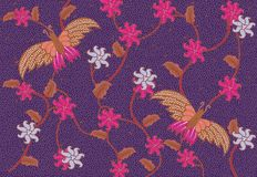 Purple Butterfly batik. Nice multicolour batik with butterfly pattern Royalty Free Illustration
