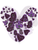 Heart of butterflies. Heart shape filled with purple and black butterflies Stock Images