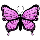Purple Butterfly isolated on white background stock illustration