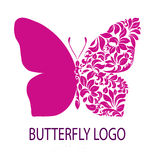 Purple butterfly logo Stock Image