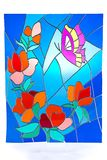 Purple butterfly and red flowers - stained glass Royalty Free Stock Photos