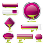 Purple button set with ink flowing out Stock Photography