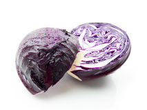 Purple cabbage. On white background stock photography