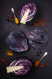 Purple cabbage on black table Royalty Free Stock Image