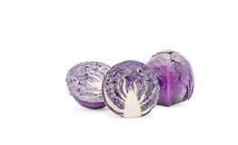 Purple cabbage Clipping Path  . Royalty Free Stock Images