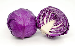 Purple cabbage. Isolated on white background Stock Photography