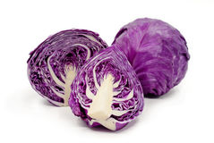 Purple cabbage. Isolated on white background Stock Images