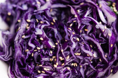 Purple cabbage slaw with sesame seeds. Close up stock photo