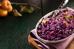 Purple cabbage in a white bowl on ancient background with copyspace Royalty Free Stock Photos